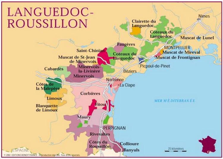 Carte Vins Languedoc Roussillon